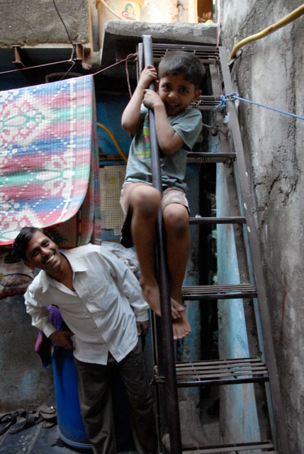 Child playing in Dharavi